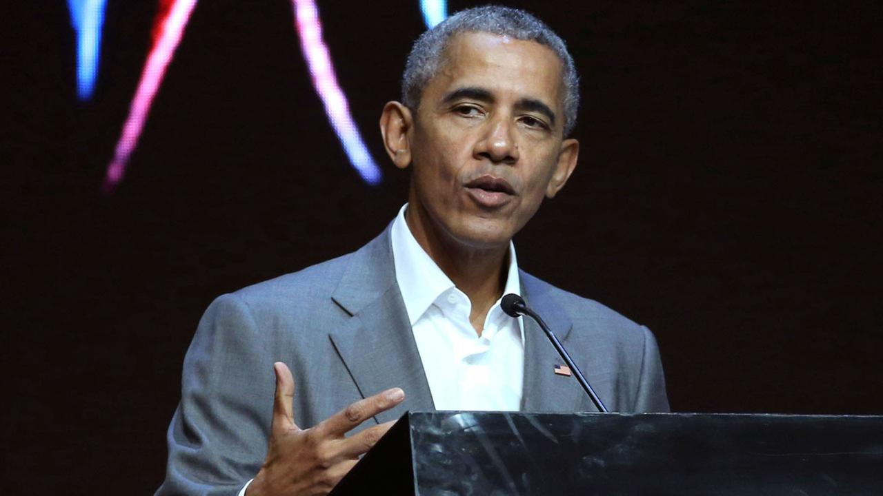 Former U.S. President Barack Obama delivers his speech during the 4th Congress of Indonesian Diaspora Network in Jakarta, Indonesia, Saturday, July 1, 2017.