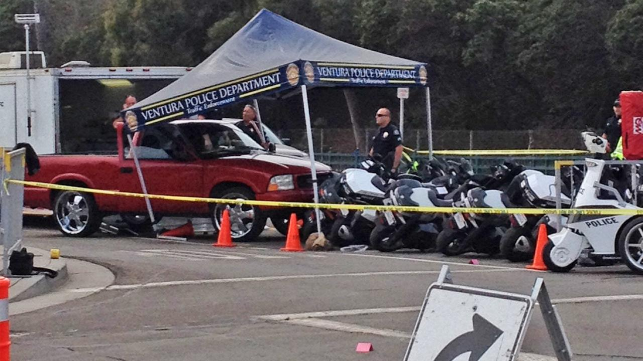 One person was hospitalized in a shooting incident involving Ventura police officers Sunday afternoon at the Ventura County Fairgrounds.