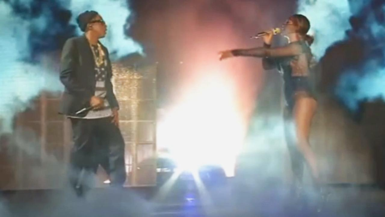 Jay Z and Beyonce perform at the Rose Bowl Saturday night, August 2, 2014.
