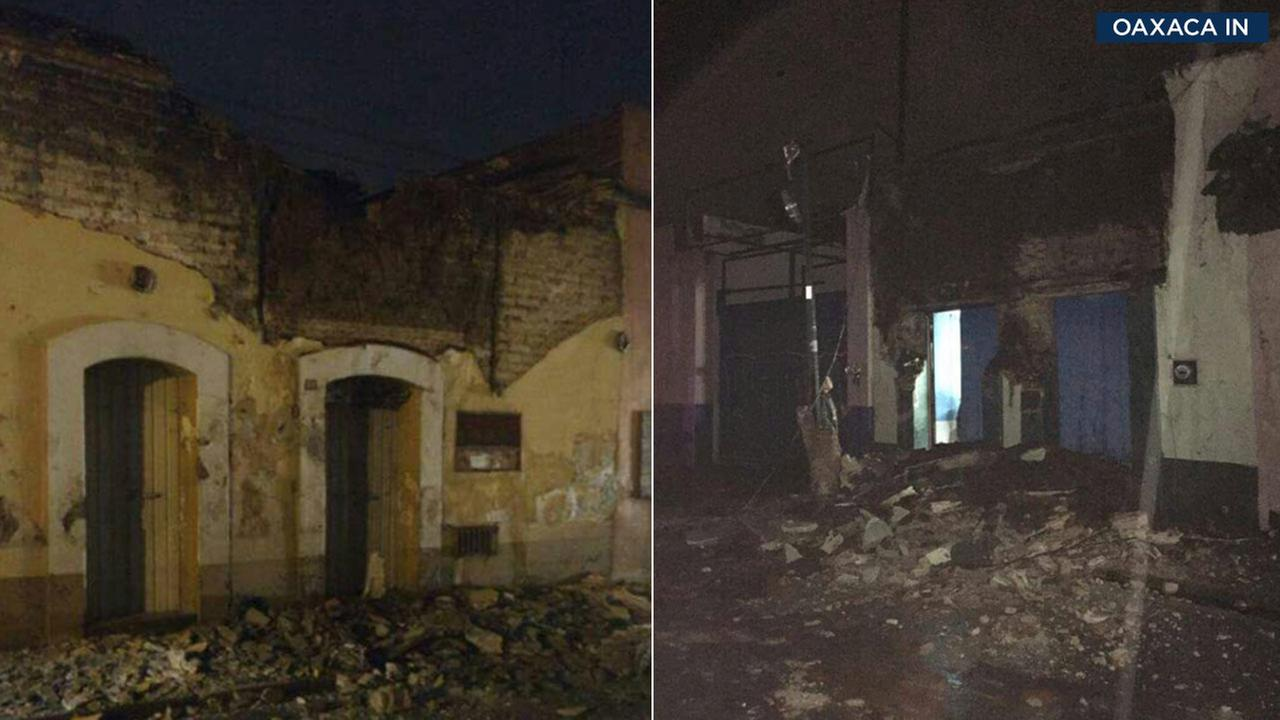 Damaged buildings in Oaxaca, Mexico, were tweeted out by the countrys government after a massive quake struck off the coast.