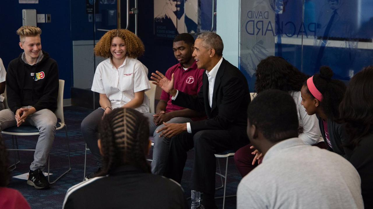 Former President Barack Obama shocked students at a Washington school Friday, Sept. 8, 2017, by popping in to give them encouragement at the beginning of the new year.