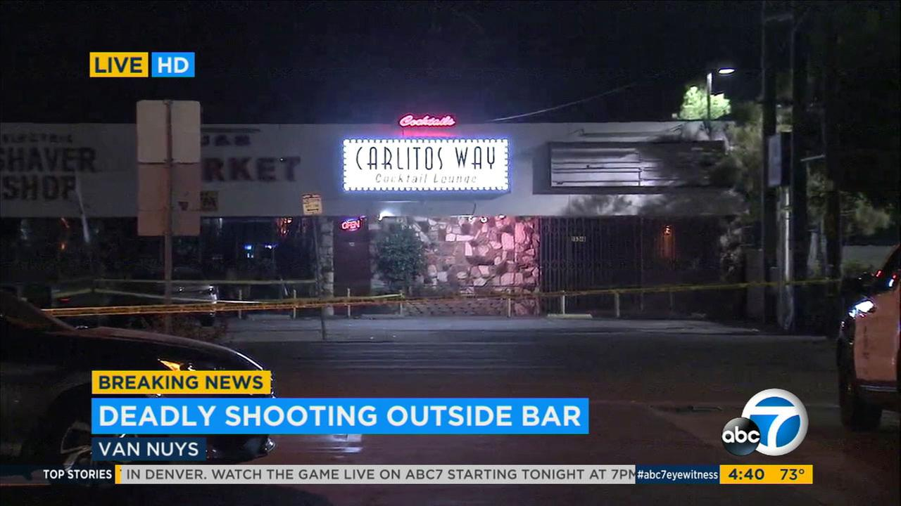 A bar near where a deadly shooting took place in Van Nuys late Sunday, Sept. 10, 2017.