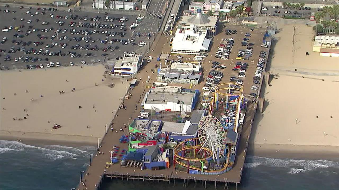 Authorities closed off the Santa Monica Pier Monday, Sept. 11, 2017, after reports of a possible bomb threat.