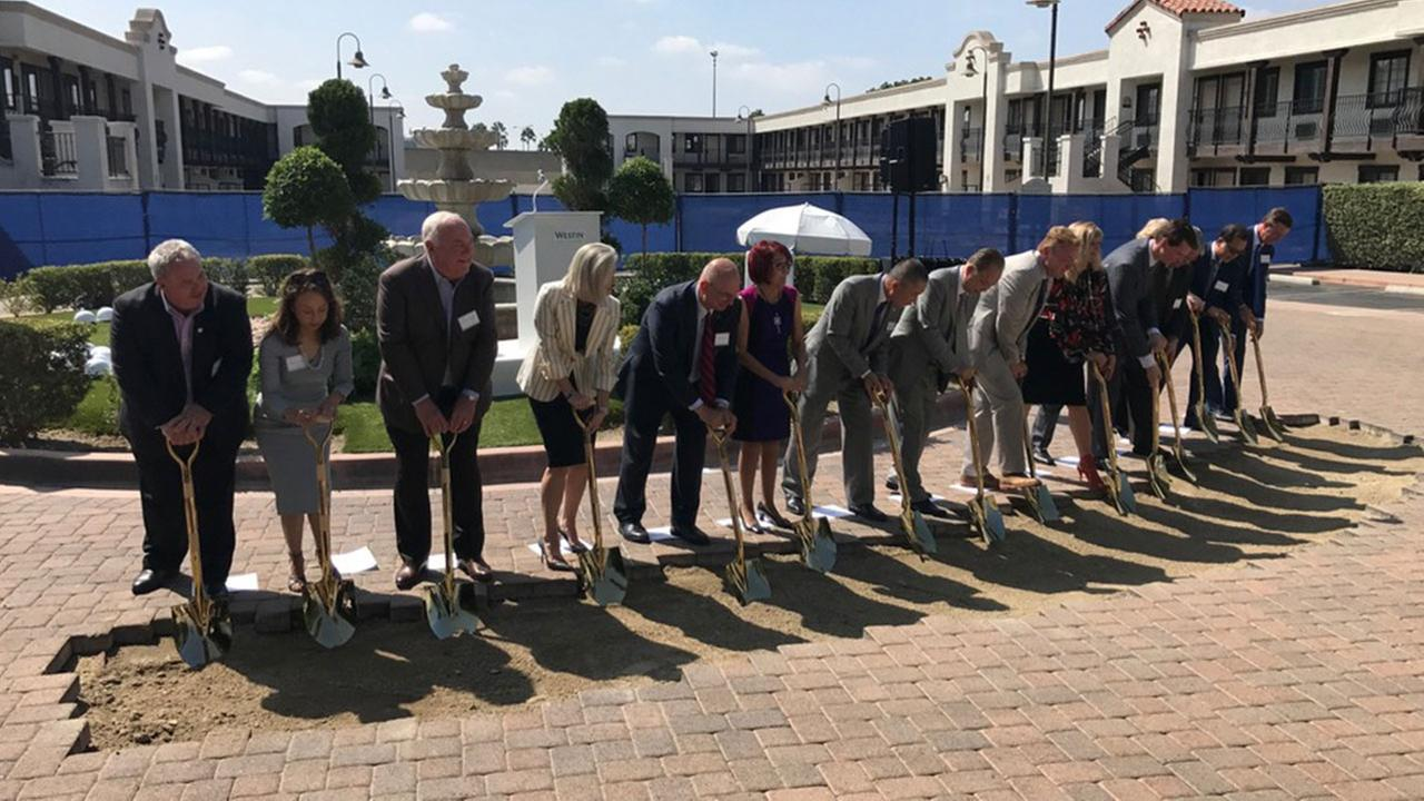 Elected officials and members of the Anaheim business community broke ground on the newest hotel in Anaheims resort district Wednesday.