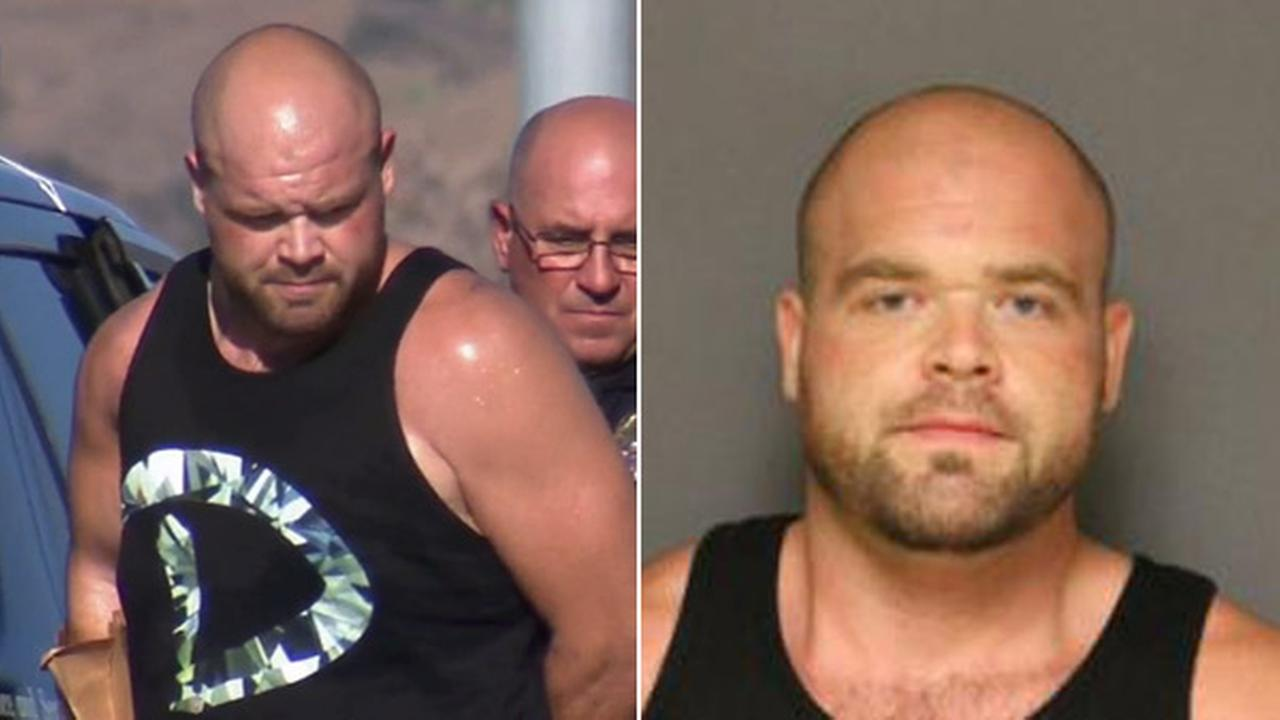 (Left) Jerry Valentin is taken into custody on Monday, Aug. 4, 2014. (Right) Valentin is seen in a booking photo.