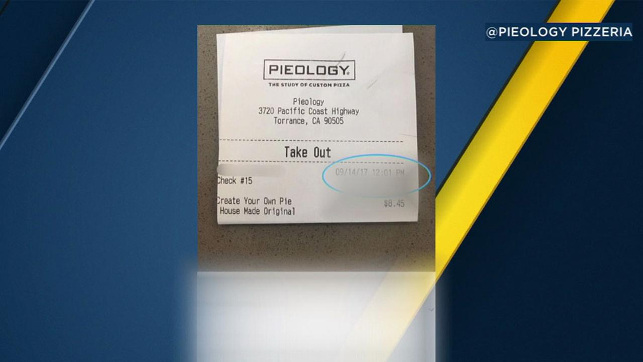 A Torrance police officer was handed this receipt printed with a derogatory message when he paid for his lunch Thursday, according to the department.