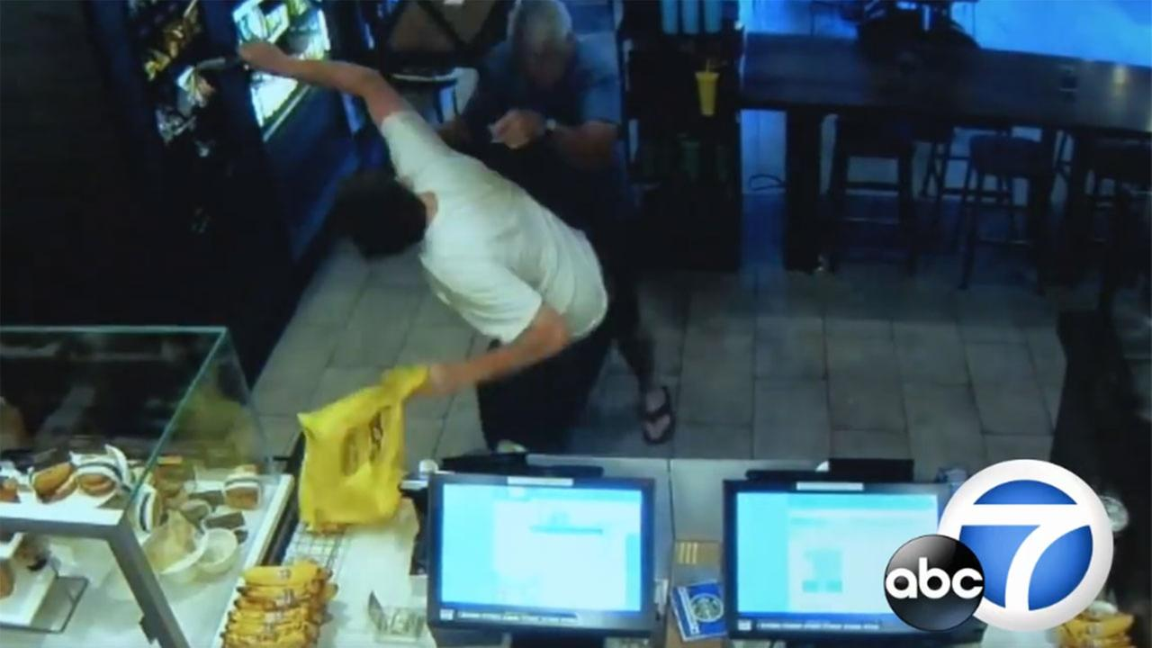 Starbucks thief, hit by chair on head by customer, plans to sue