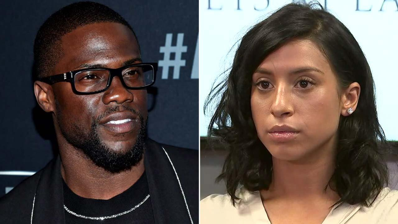(Left) Kevin Hart is seen in an undated file photo. (Right) Montia Sabbag speaks at a news conference on Wednesday, Sept. 20, 2017.