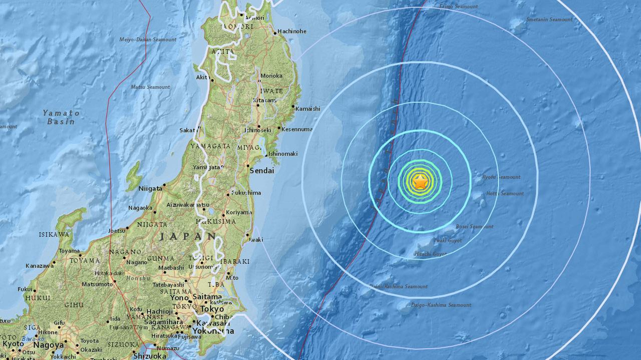 An earthquake with a preliminary magnitude of 6.1 has struck off the coast of Kamaishi, Japan, according to the U.S. Geological Survey.