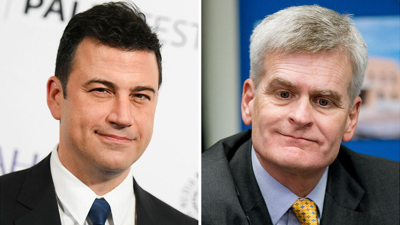 Jimmy Kimmel, left, says Sen. Bill Cassidy went back on his word about a health care overhaul.