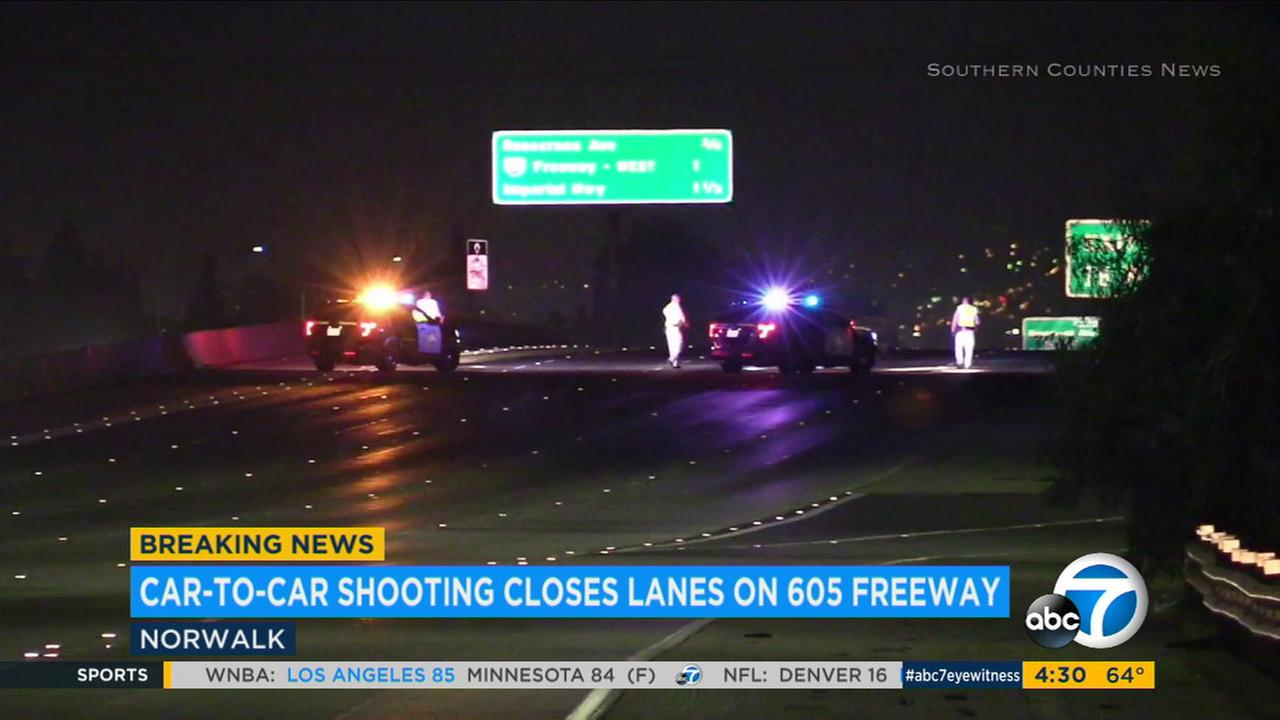 One person was hurt early Monday morning in a car-to-car-shooting in Cerritos that prompted authorities to shut down all northbound lanes of the 605 Freeway.