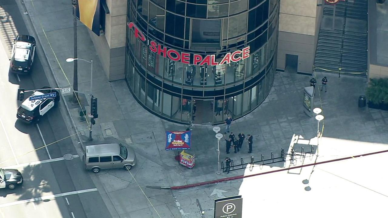 A 20-year-old man was shot at a shoe store in Hollywood and transported to a local hospital, according to police.