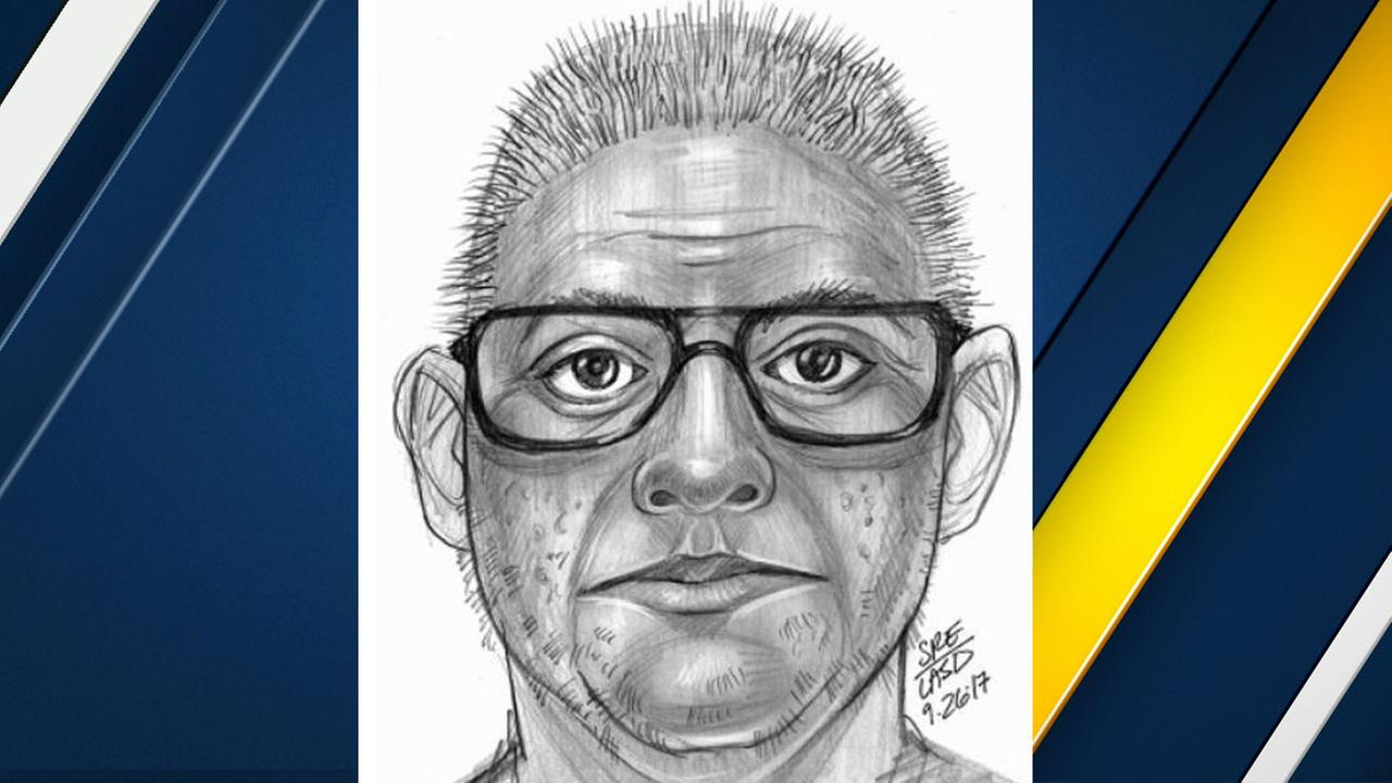 A sketch of a suspect who police said exposed himself to a 14-year-old girl in El Monte on Monday, Sept. 25, 2017.