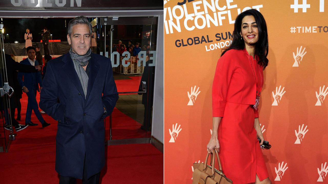 (Left) George Clooney at the UK premiere of The Monuments Men. (Right) Amal Alamuddin attends the End Sexual Violence in Conflict summit in London on June 12, 2014.