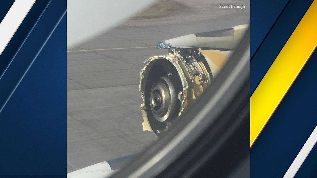 A photo taken by a passenger on a Paris-to-Los Angeles flight that was diverted on Saturday, Sept. 30, 2017, after engine damage.
