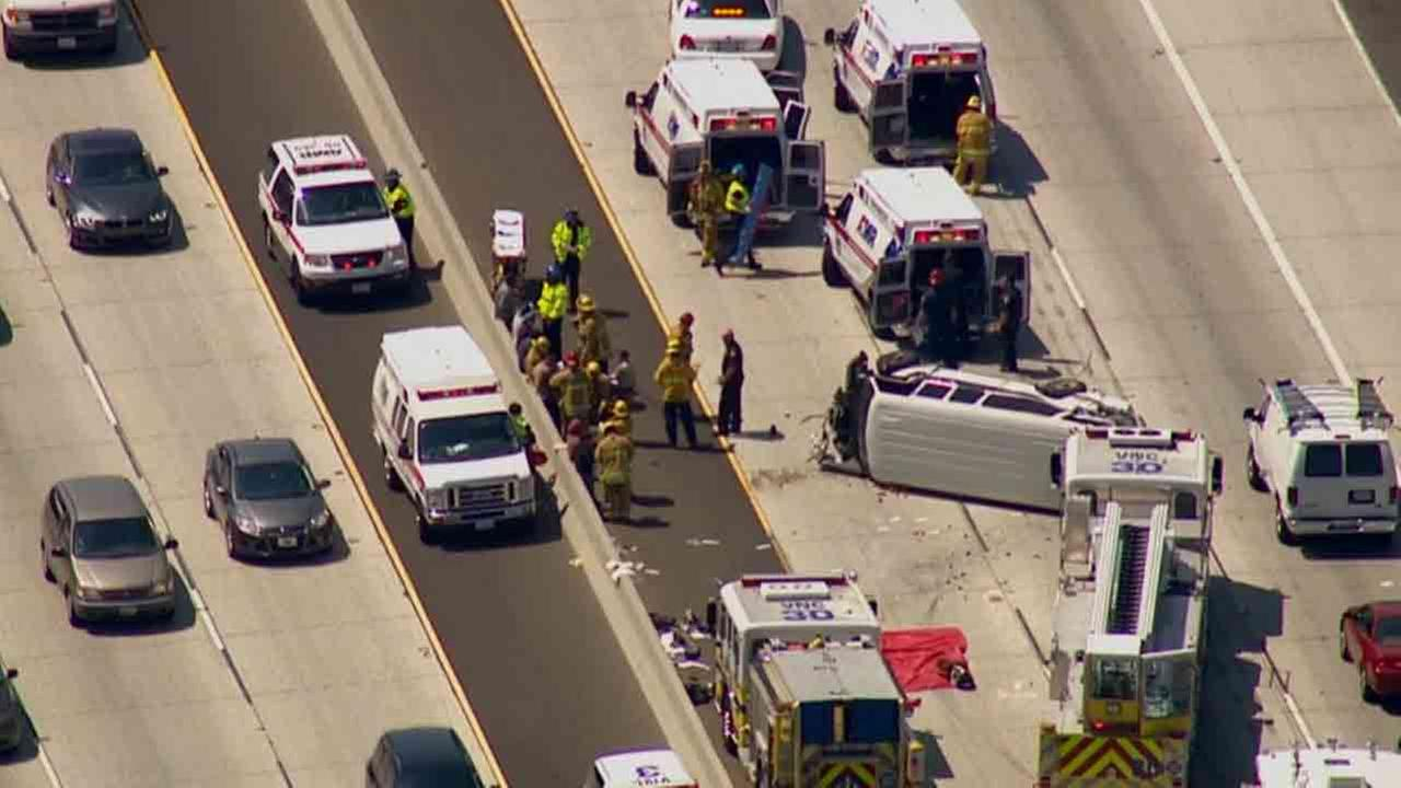 Ventura County firefighters respond to the scene of a two-vehicle collision on the northbound 101 Freeway near Lynn Road in Thousand Oaks Thursday, Aug. 7, 2014.