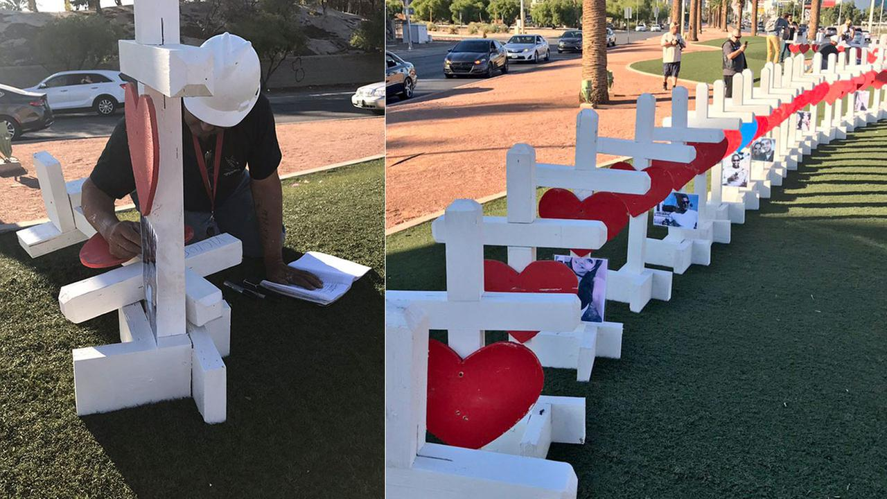 Crosses Placed on Las Vegas Boulevard in Honor of Mass Shooting Victims