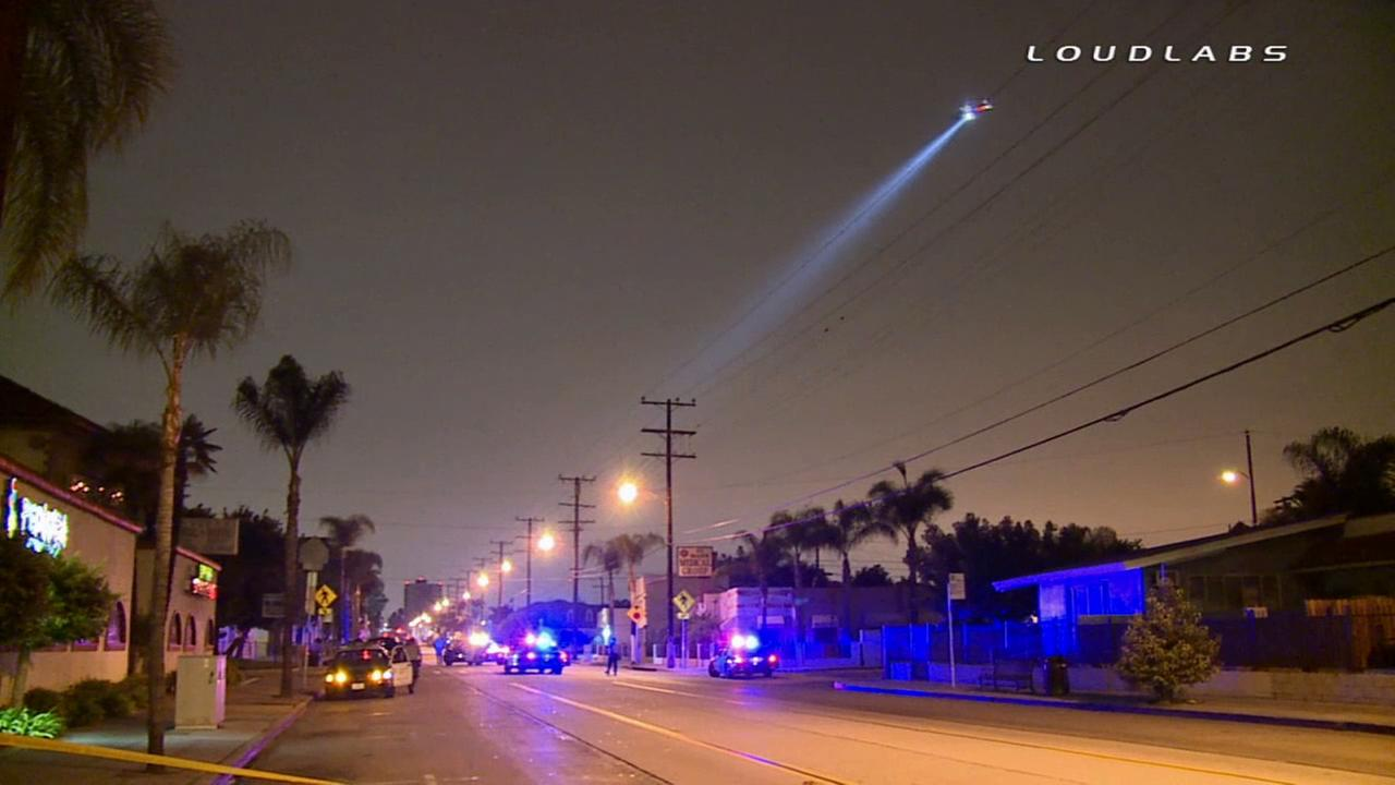 Police investigate a deputy-involved shooting in Walnut Park on Saturday, Aug. 9, 2014.