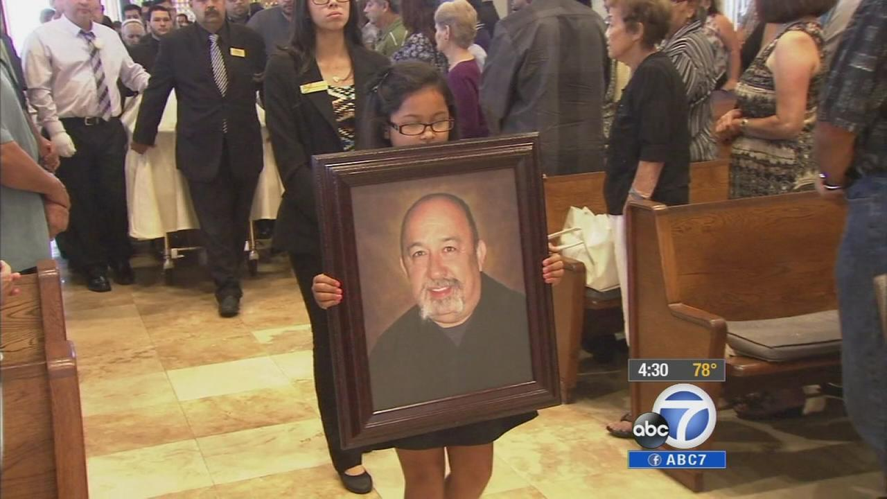 A funeral service was held Saturday, Aug. 9, 2014 to honor Frank Mendoza of Pico Rivera, who was accidentally killed by a sheriffs deputy.