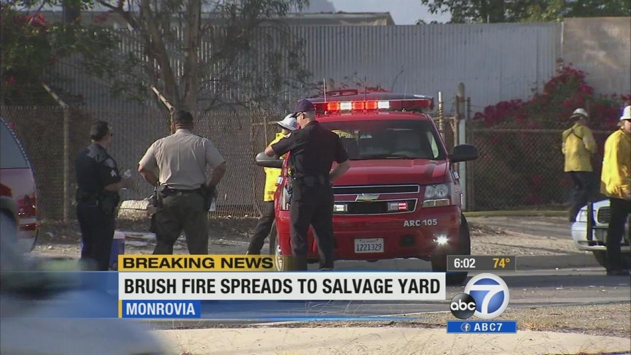 A brush fire which set ablaze some cars in a salvage yard and temporarily threatened structures was knocked down in Monrovia Saturday, Aug. 9, 2014.