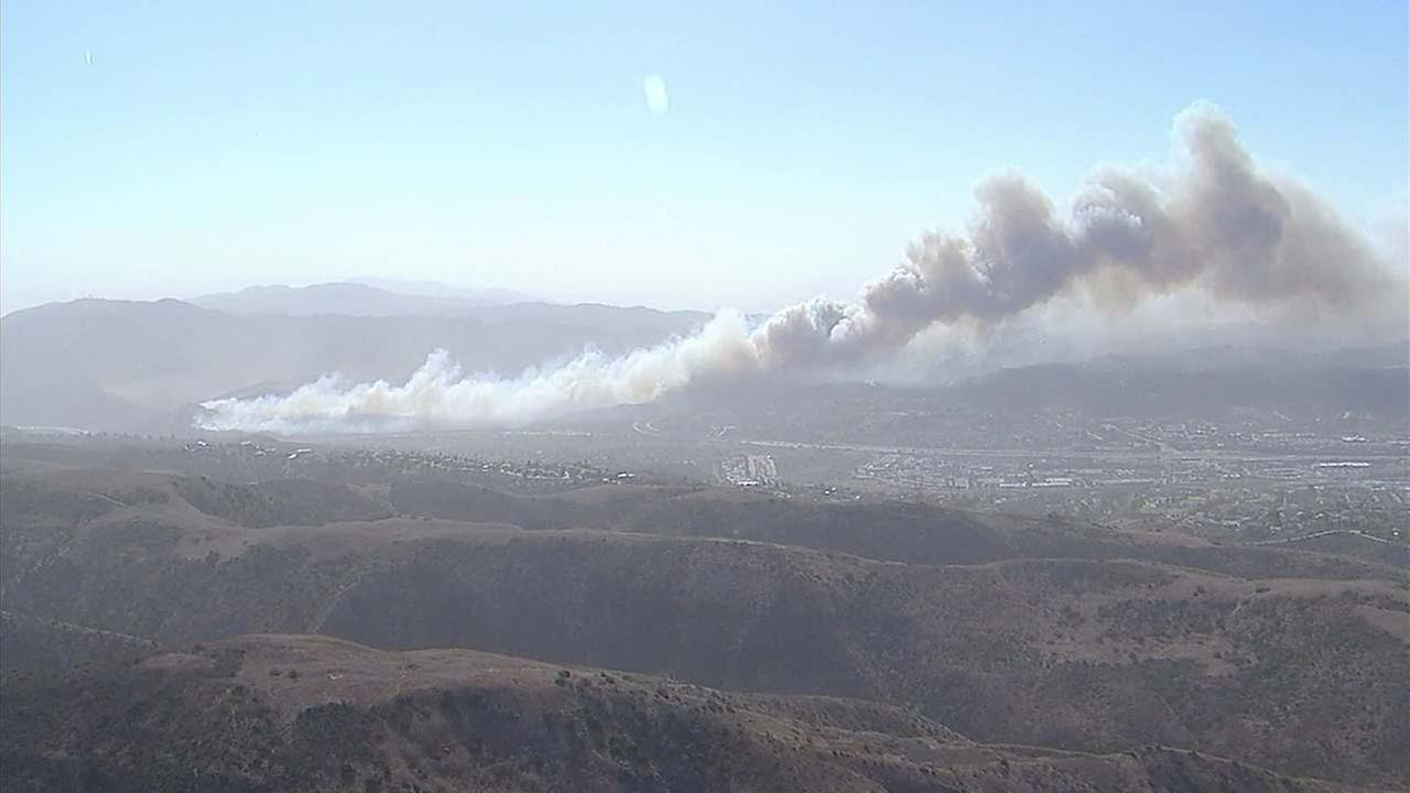 Evacautions ordered in Anaheim Hills as fast-moving brush fire burns""