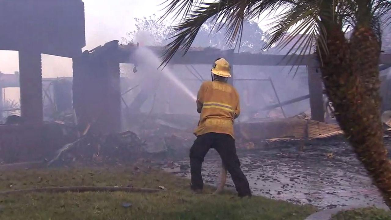Several homes in Anaheim Hills were burned completely to the ground by a brush fire Monday.