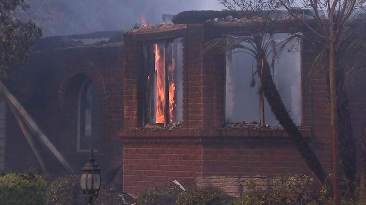 A home in Anaheim Hills was completely destroyed by the Canyon Fire 2 Monday.