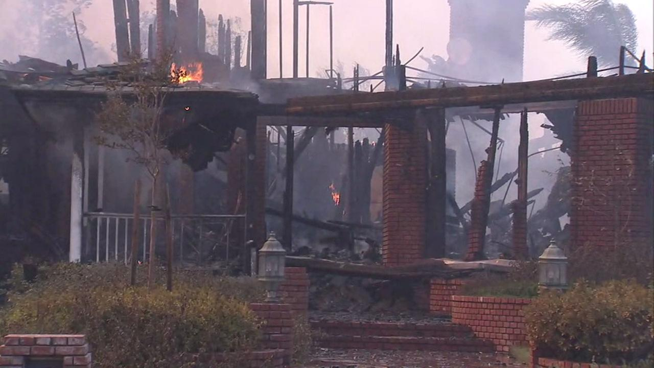 A home was burned and completely destroyed in Anaheim Hills by the Canyon Fire 2 Monday.