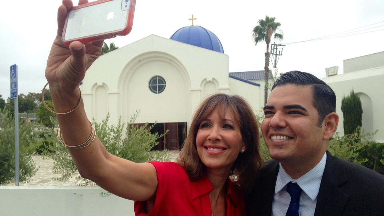 Jovana Lara and Long Beach Mayor Robert Garcia