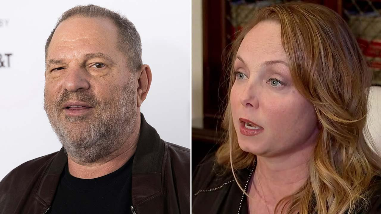 (Left) Harvey Weinstein attends a screening for the Reservoir Dogs April 28, 2017, in New York. (Right) Louisette Geiss speaks at a press conference in L.A., Oct. 10, 2017.