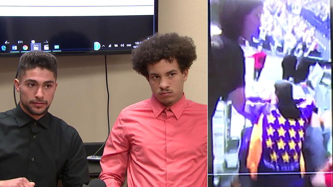 Lakers fans Jiahn Talebi and Mathew Brady said they were assaulted at a preseason game on Oct. 4 by a women who threw a drink on them after they kneeled during the national anthem.