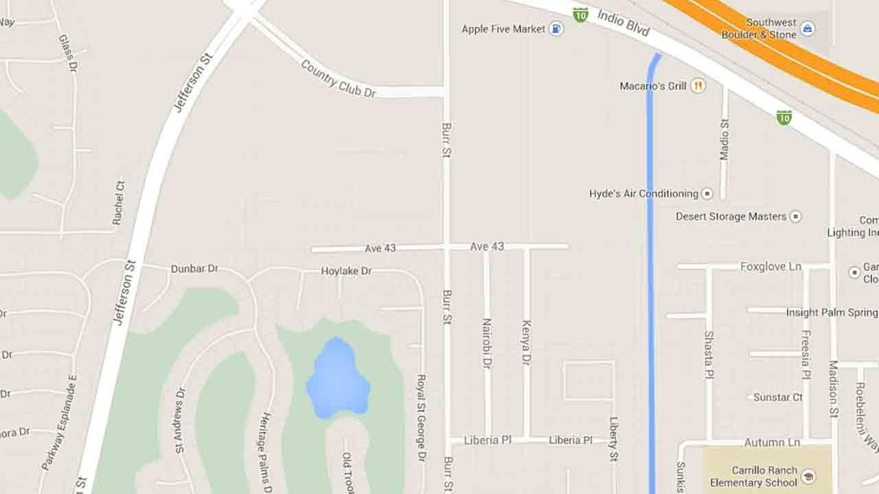 A map indicates the area near Avenue 43 in Indio where two boys were attacked by a pit bull Saturday, Aug. 9, 2014.