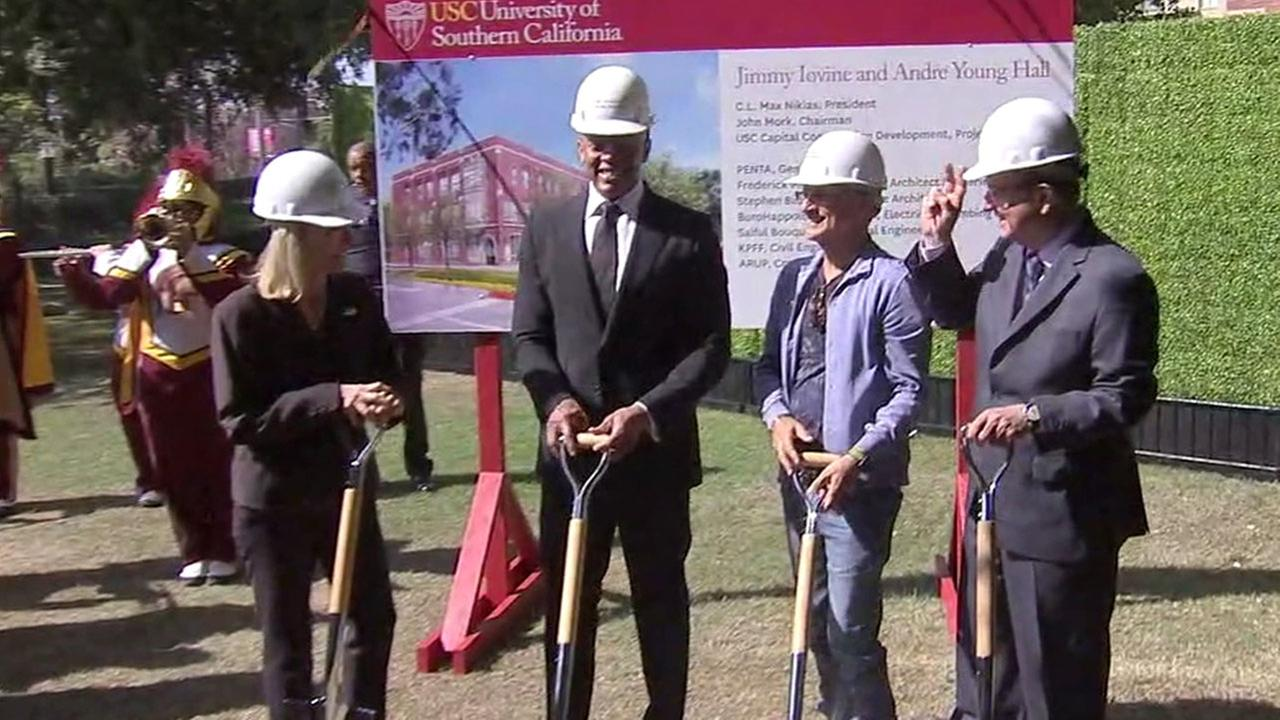 Music business legends Dr. Dre (center left) and Jimmy Iovine (center right) broke ground for a new USC academy on Wednesday, Oct. 11, 2017.