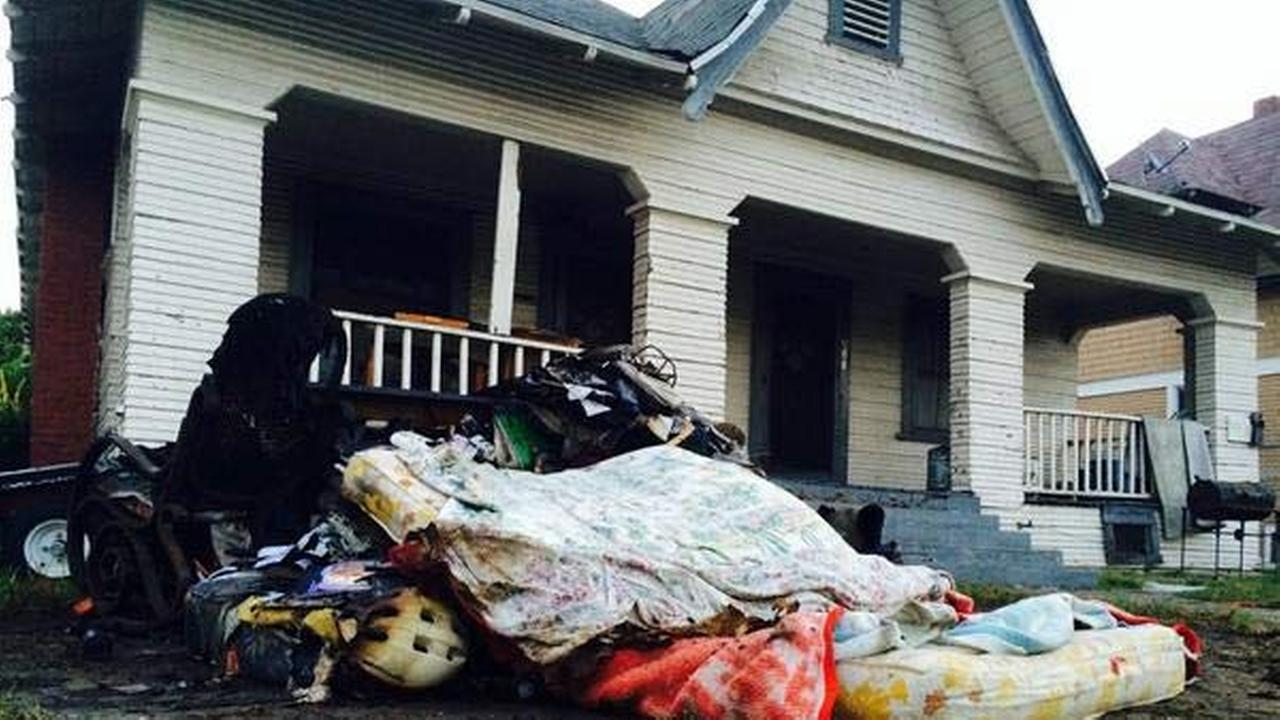 A fire broke out at a South Los Angeles home on Monday, Aug. 11, 2014.
