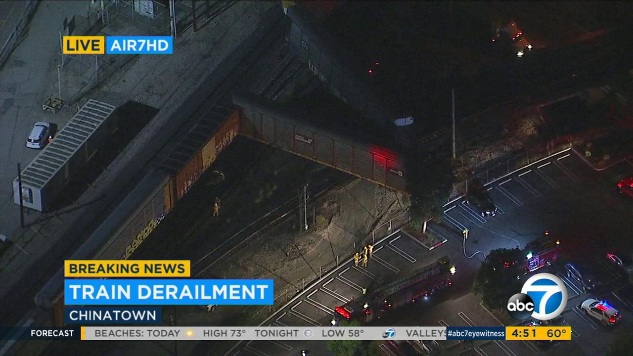 A freight train derailed Friday, Oct. 13, 2017, in the Chinatown area of Los Angeles.