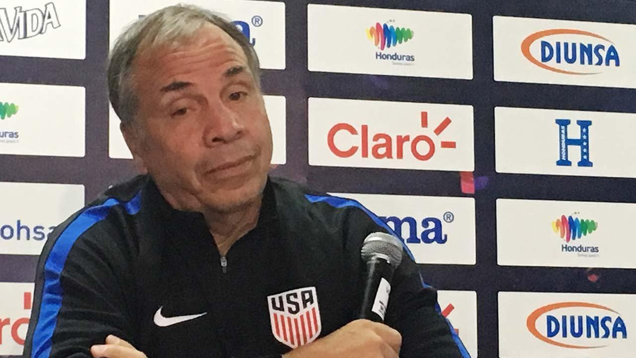 U.S. coach Bruce Arena speaks at a news conference at Estadio Olimpico Metropolitano in San Pedro Sula, Honduras, Monday, Sept. 4, 2017.