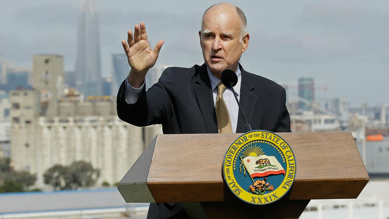 California Gov. Jerry Brown speaks before signing a number of bills to help address housing needs Friday, Sept. 29, 2017, in San Francisco.