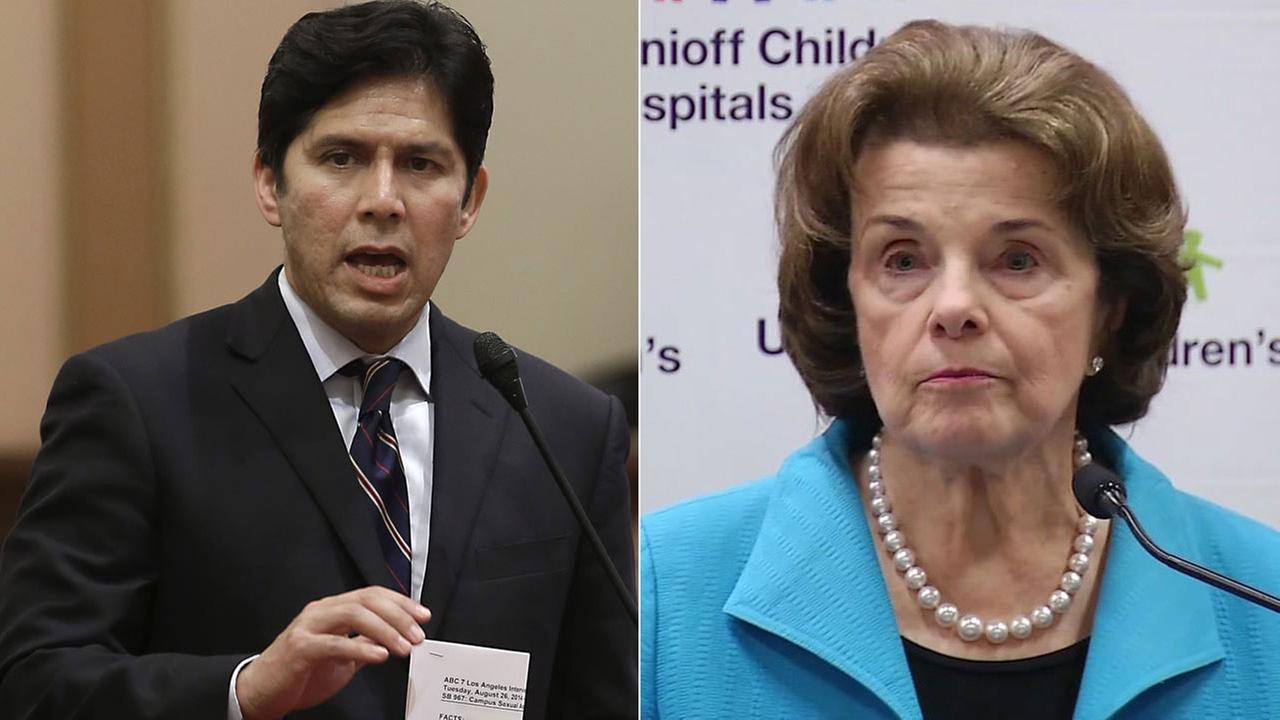 State Senate President Pro Tem Kevin De Leon of Los Angeles (left) is challenging U.S. Sen. Dianne Feinstein for her Senate seat in 2018.