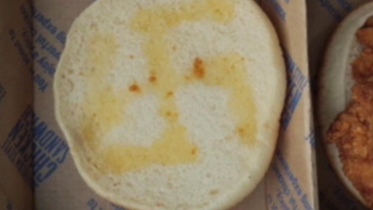 A bun with a swastika found at a Morehead City, North Carolina McDonalds is shown.
