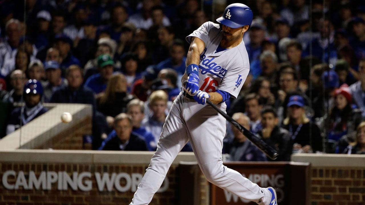 Los Angeles Dodgers Andre Ethier (16) hits a home run during the second inning of Game 3 of baseballs NLCS against the Chicago Cubs, Tuesday, Oct. 17, 2017, in Chicago.