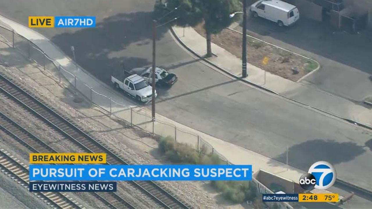 The chase started in the Lakewood area and moved through Downey near the 605 Freeway into Santa Fe Springs. Authorities said the vehicle had no plates.