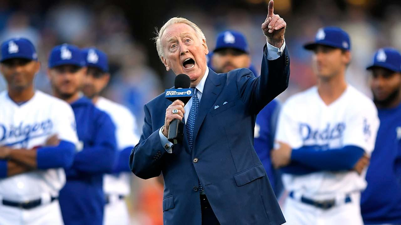 Vin Scully speaks during his induction into the Dodgers Ring of Honor, Wednesday, May 3, 2017, in Los Angeles.