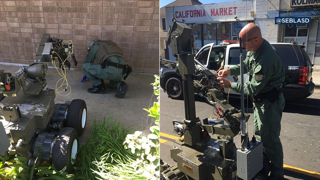 The Los Angeles County Sheriffs Department bomb squad used a robot to examine and blow up what turned out to be a fake bomb planted in front of a Whittier Planned Parenthood.