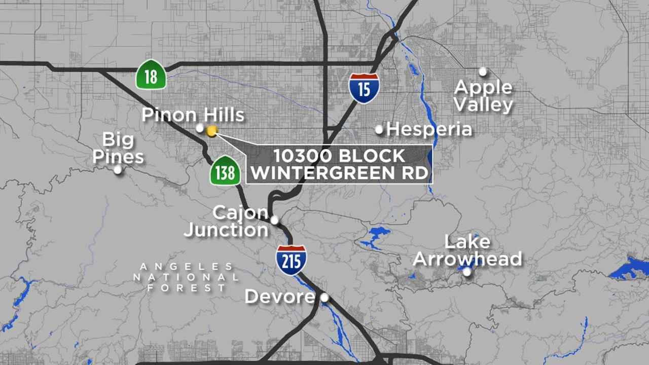 A map indicates the location of a Pinon Hills home, where a report of a drowning led to a murder investigation in the death of a 2 1/2-year-old boy on Friday, Oct. 20, 2017.