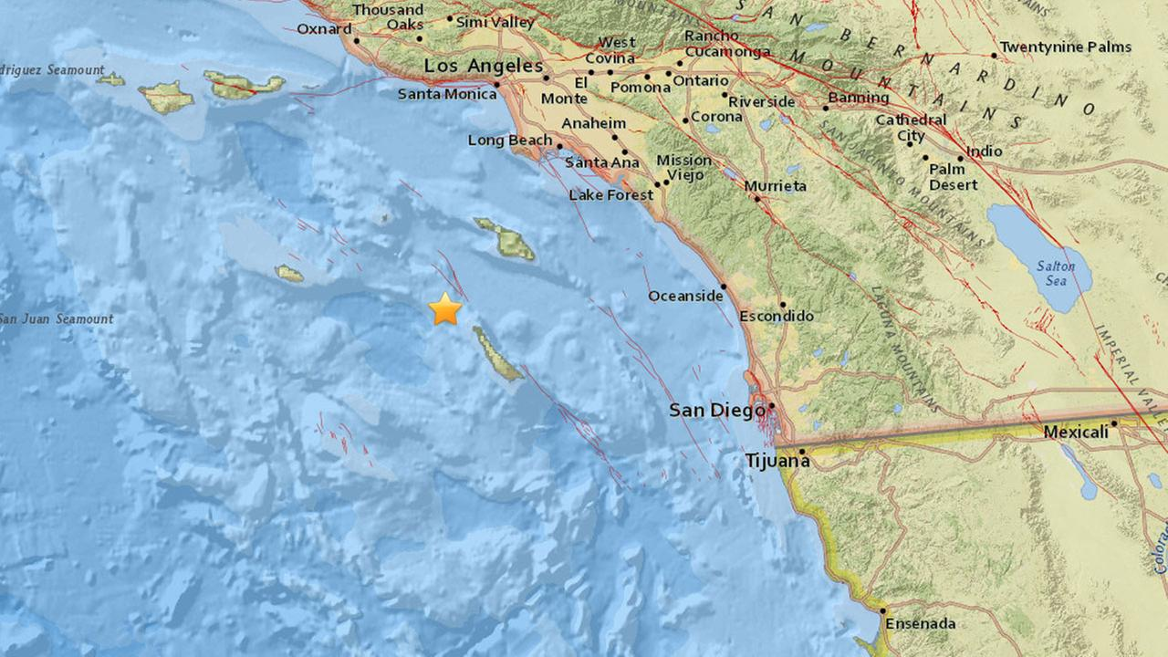 A preliminary magnitude 4.1 earthquake struck off the Southern California coast about 29 miles southwest of Avalon, according to the USGS.