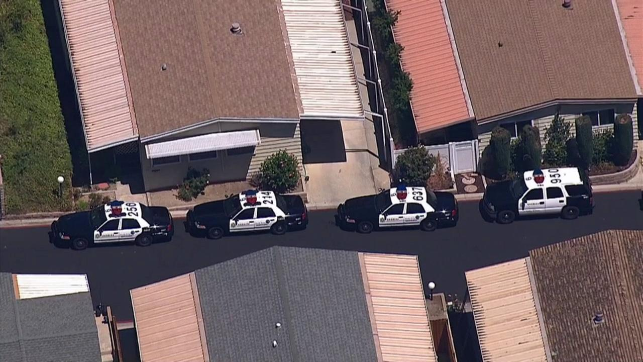 Police responded to a mobile home park in Castaic, where a woman was reportedly holed up with a gun on Wednesday, Aug. 13, 2014.