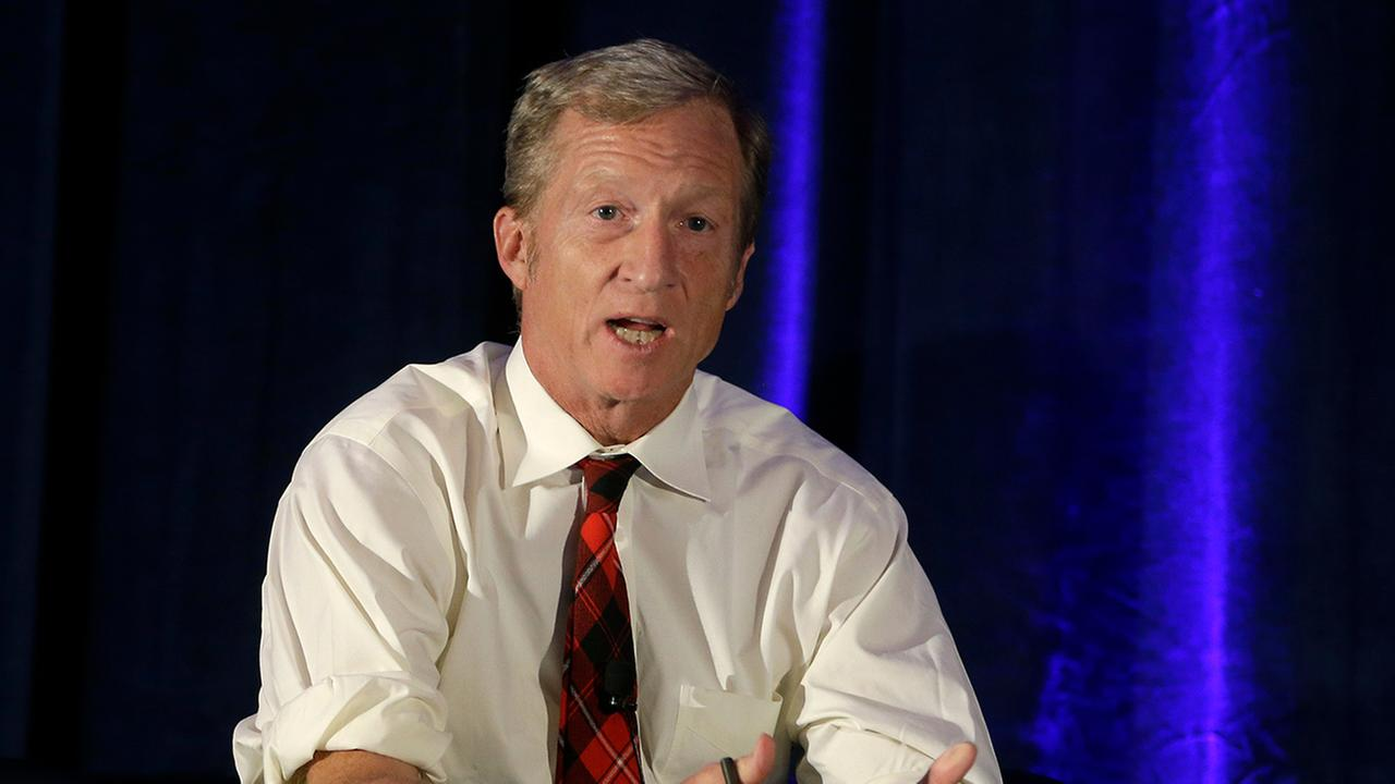 In this Oct. 7, 2015, file photo, billionaire environmentalist Tom Steyer discusses climate change at a symposium in Sacramento.
