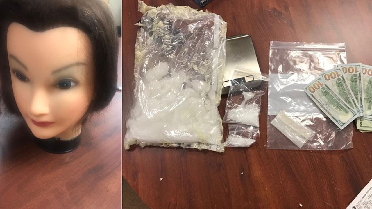 A mannequin head that contained methamphetamine is shown alongside an image of the drug, other paraphernalia and cash.