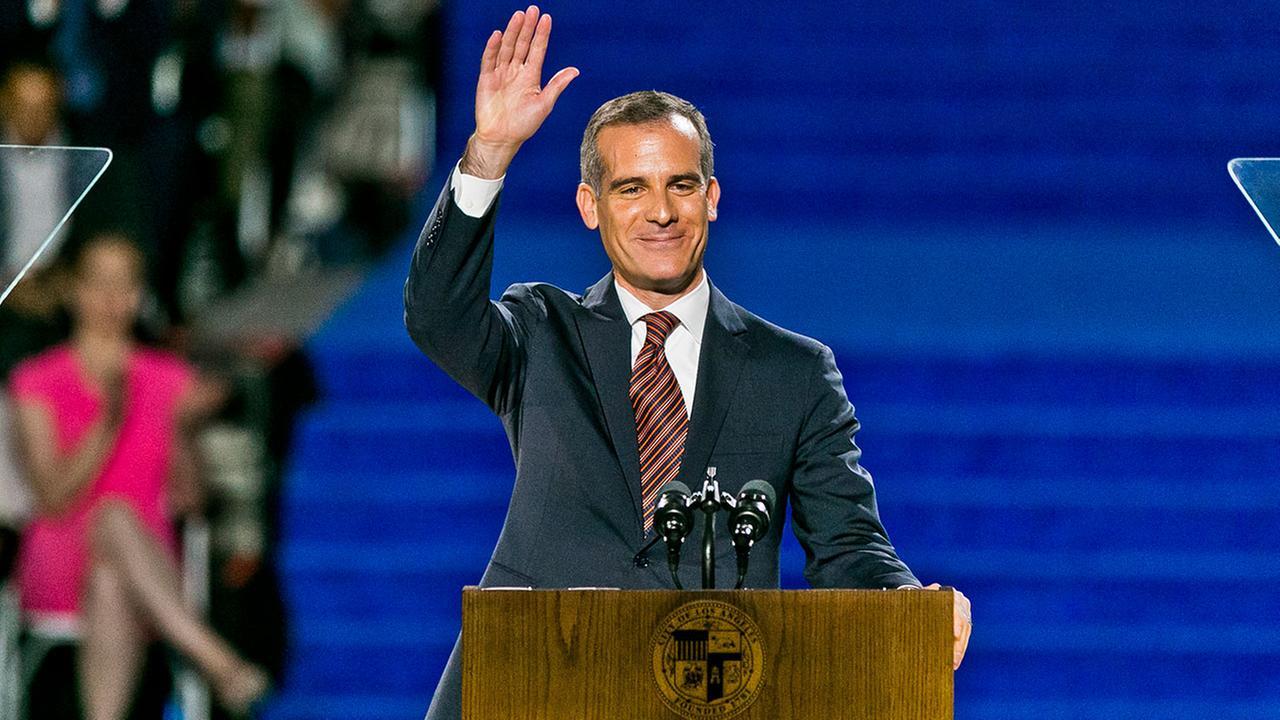 Los Angeles Mayor Eric Garcetti speaks as he is sworn in for his second term on July 1, 2017.