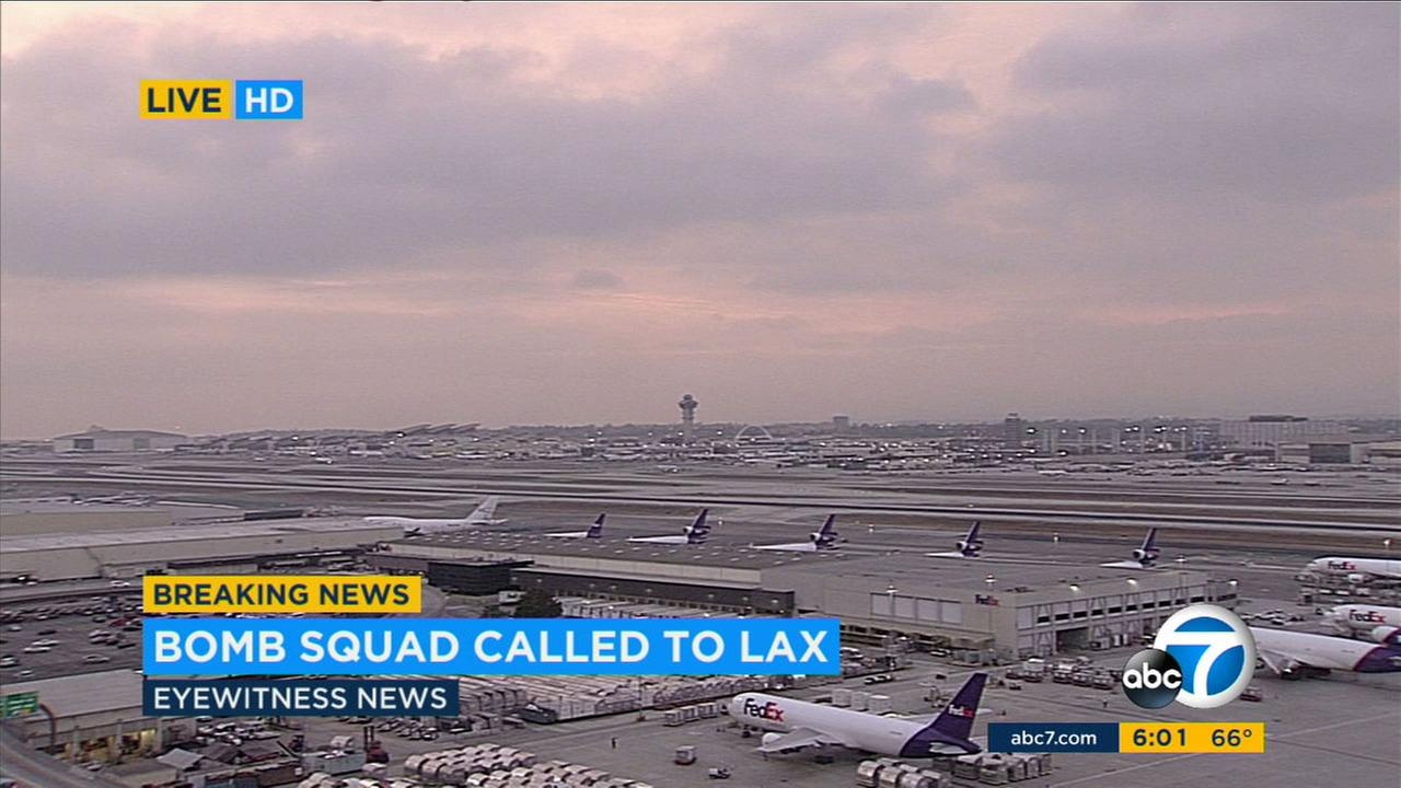A suspicious bag at Los Angeles International Airport resulted in the evacuation of the lower level of the Tom Bradley international terminal on Sunday, Oct. 29, 2017.